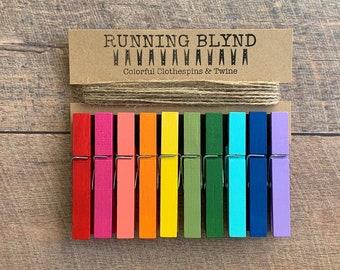 Rainbow Clothespins. Colorful Clothespins.  Wall Hanging. Kids Art Display. Photo Garland. Photo Clothesline. Dorm Decor. Kids Room Decor.