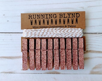 Rose Gold Glitter Mini Clothespins with Twine, Party Decor, Wedding Decor, Mini Clothespins, Glitter Clothespins, Party Supplies,