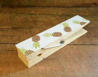 Jumbo Clothespin. Photo Holder. Recipe Holder. Pineapples. Large Clothespin. Kitchen Decor. Memo Holder. Desk Accessory. Photo Clip.