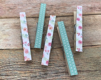 Mint and Pink Clothespins. Magnetic Bag Clips. Decorative Clothespins. Magnetic Clothespins. Clothespin Magnets. Kitchen Decor.