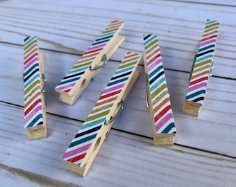 Rainbow. Clothespin Magnets. Rainbow Decor. Decorative Clothespins. Friend Gift. Party Favors. Housewarming Gift. Fridge Magnets. Blue.