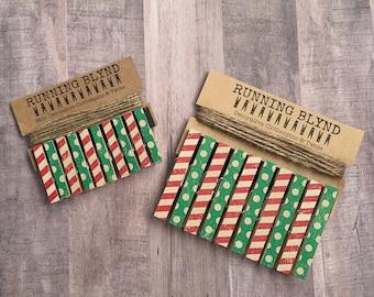 Red Stripes. Vintage Christmas. Holiday Clothespins. Christmas Card Display. Photo Clothesline. Holiday Decor. Christmas Decor.
