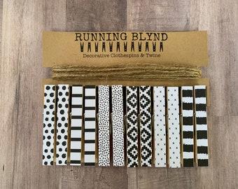 Photo Clothesline. Black Clothespins. White Clothespins. Artwork Display. Photo Garland. Kids Artwork Display. Kids Room Decor. Twine.