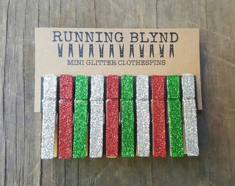 Mini Glitter Clothespins in Red, Green and Silver. Christmas Decor. Holiday Decor. Party Decor. Gift Wrapping Supplies.