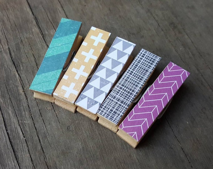Small Clothespin Magnets. Triangles. Chevrons. Stripes. Small Magnets. Fridge Magnets. Kids Art Display. Wedding Favors. Housewarming Gift