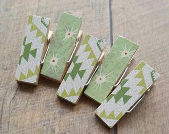 Fridge Magnets. Green Aztec. Cactus Thorns. Clothespin Magnets. Mini Clothespins. Decorative Clothespins. Magnet Clips. Office Decor.
