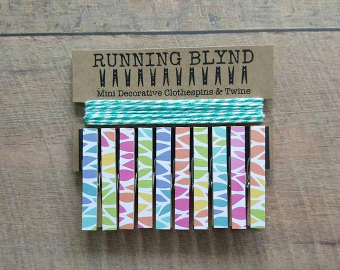 Mini Clothespins. Rainbows. Aqua Twine. Girls Room Decor. Card holder. Photo Clothesline. Kids Art display. Photo display. Wood Clips.