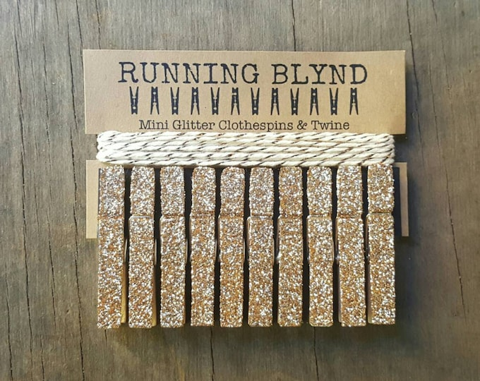 Champagne Gold Glitter Mini Clothespins with Twine, Party Decor, Wedding Decor, Mini Clothespins, Glitter Clothespins, Party Supplies