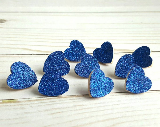 Thumb Tacks. Push Pins. Glitter Hearts. Royal Blue. Memo Board Pins. Office Accessories. Heart Tacks. Dorm Room Decor. Office Supplies.