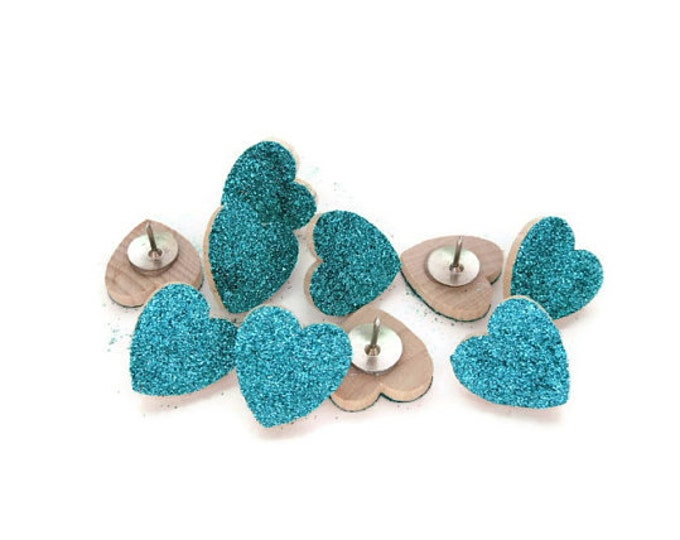 Teal Glitter Heart Tacks. Glitter Tacks. Heart Tacks. Push Pins. Teal Glitter. Memo Board Pins. Decorative Push PIns. Office Supplies.
