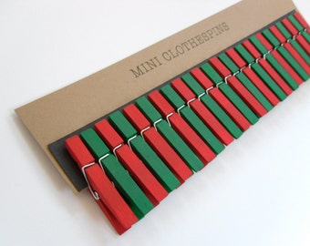 Mini Clothespins Christmas Red and Green. Holiday Decor. Party Decor.