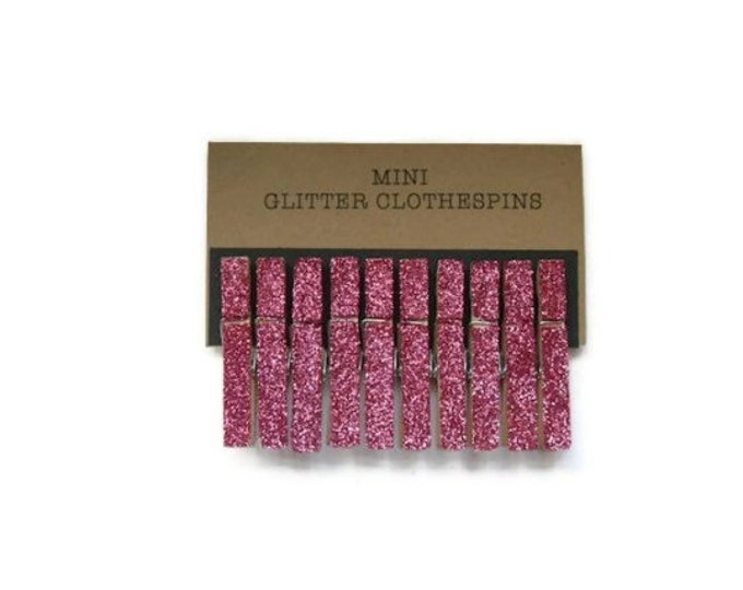 Mini Glitter Clothespins Fushcia Pink. Set of Ten (10). Wedding Decor. Party Decor.