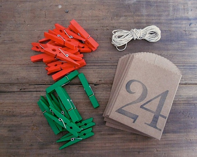 Advent Calendar. Christmas Countdown. Mini Clothespins with Jute Twine and Numbered Kraft Bags 1-24. Holiday Decor.