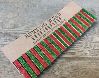 Mini Clothespins Christmas Red and Green. Holiday Decor. Party Decor. Glitter Clothespins. Holiday Decor. Red Glitter. Green Glitter.