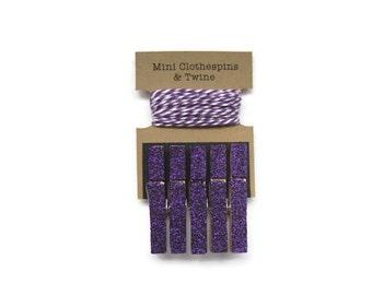 Purple Glitter Mini Clothespins with Purple Twine, Kids Art Display, Photo Display, Photo Clothesline, Mini Glitter Clothespins