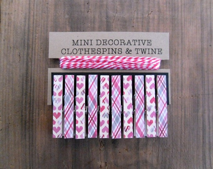 Valentines Day Clothespins. Mini Clothespins. Red Twine. Card Holder. Photo Clothesline. Holiday Decor. Valentine Decor. Mini Clips.