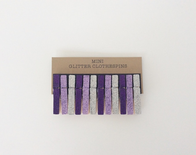 Glitter Clothespins. Mini Clothespins. Purple Glitter. Lavender Glitter. Silver Glitter. Mini Clips. Party Decor. Wedding Decor.