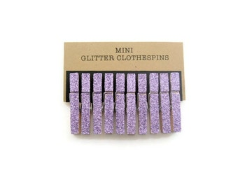 Mini lavender glitter clothespins.  Glitter clothespins. Party decor. Wedding decor