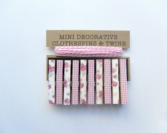 Mini Clothespins with Pink Twine. Set of 10. Fuchsia/Pink Flowers and Pink Houndtooth. Card Holder. Photo Clothesline. Home Decor