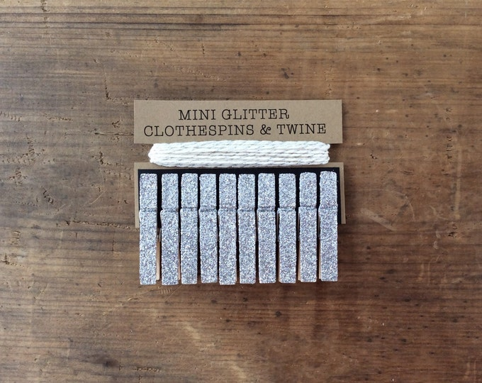 Mini Silver Glitter Clothespins with Cream/Metallic Silver Twine. Wedding Decor. Silver Glitter Clothespins. Party Decor.