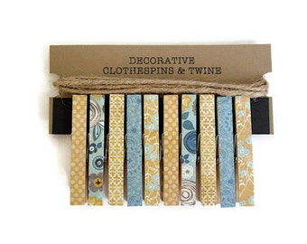 Decorative Clothespins with Jute Twine -  Card Display. Photo Display. Art Display. Photo Clothesline. Teal and Yellow