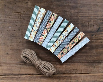 Decorative Clothespins with Grey Twine. Shades of Grey, Black Chevron and Orange Flowers.  Card Holder. Photo Clothesline. Kids Art Display.