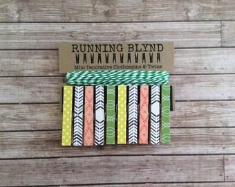 Mini Clothespins with Green Twine. Retro Grove. Photo Holder. Photo clothesline. Kids art display. Dorm Decor. Decorative Clothespins.