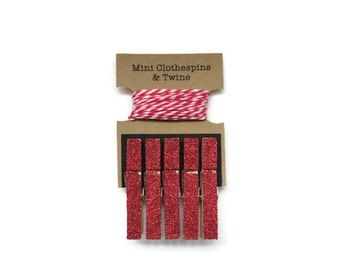 Red Glitter Mini Clothespins with Red Twine, Kids Art Display, Photo Display, Photo Clothesline