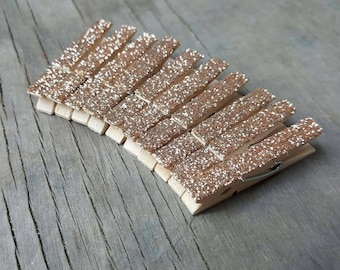 Champagne Gold Clothespins, Embellishments, Mini Clothespins, Glitter Clothespins, Party Supplies, Wood Clips, Small Clothespins, Wood Pegs