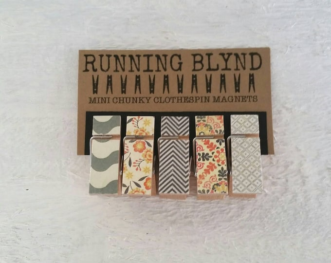 Mini  Chunky Clothespins Magnets in Shades of Grey, Black Chevron and Orange Flowers.