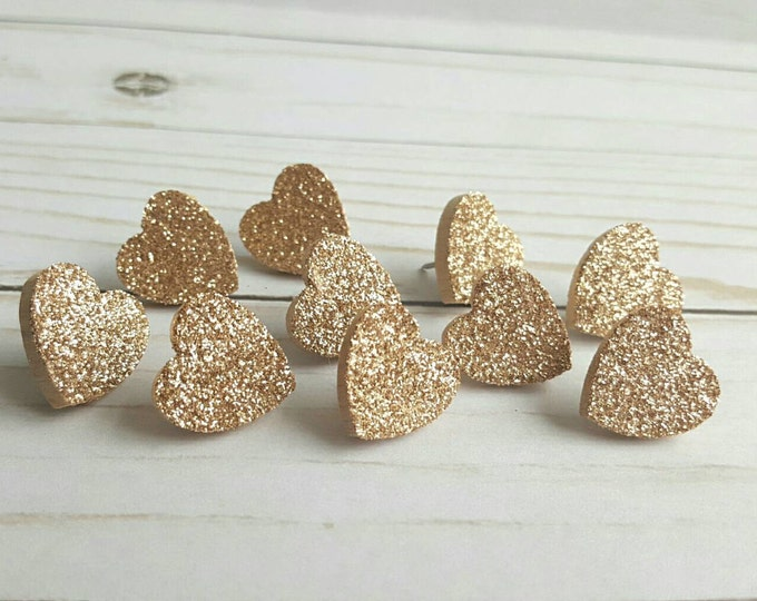 Champagne Gold Glitter Heart Thumb Tacks. Push Pins. Glitter Hearts. Heart Push Pins. Memo Board Pins. Office Accessories. Map tacks.