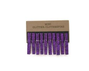 Mini Glitter Clothespins Purple Amethyst. Set of Ten (10). Wedding Decor. Party Decor.