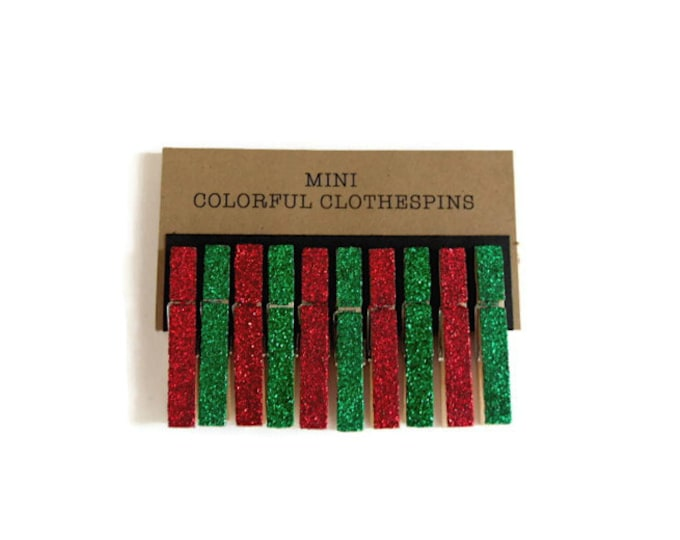 Christmas Clothespins. Mini Clothespins. Glitter Clothespins. Red Glitter. Green Glitter. Christmas Red and Green. Holiday Decor.