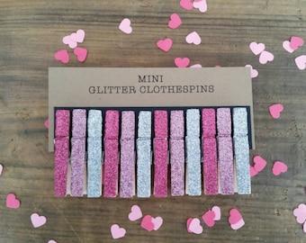 Mini Glitter Clothespins. Fuchsia, Pink and Silver Glitter. Set of Twelve (12). Valentines Day. Party Decor. Wedding Decor.