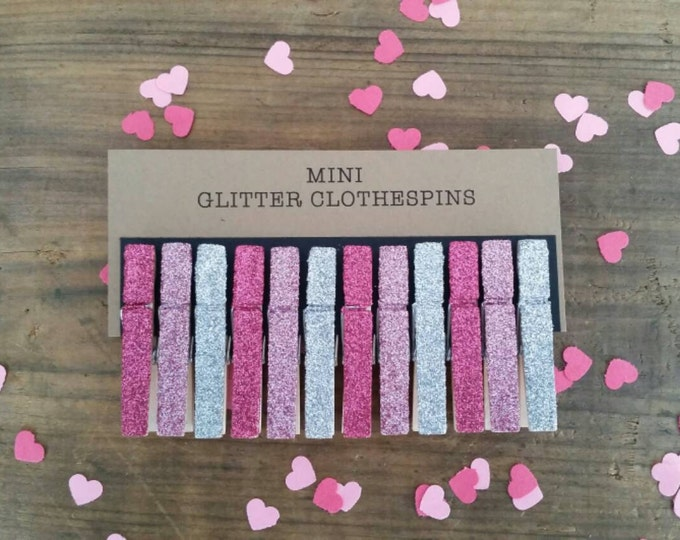 Mini Glitter Clothespins. Fuchsia, Pink and Silver Glitter. Set of Twelve (12). Valentines Day. Party Decor. Wedding Decor.