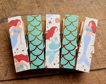 Mermaid Decor. Small Clothespin Magnets. Mermaid Tails. Fridge Magnets. Kids Art Display. Gift for Her. Decorative Clip. Photo Display.
