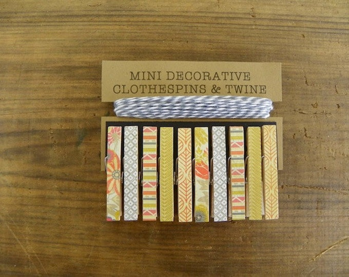 Mini Clothespins with Grey Twine. Shades of Marigold Yellow, Orange and Grey. Set of 10. Card Holder. Photo Clothesline. Kids Art Display.
