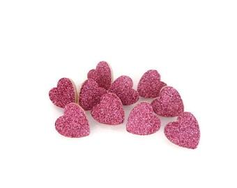 Fuchsia Glitter Heart Thumb Tacks/Push Pins. Set of 10.