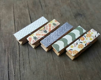 Magnet Clothespins. Shades of Grey. Chunky Clothespins. Fridge Magnets. Kids Art Display. Party Favor. Teacher Gift. Hostess Gift.