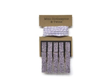 Lavender Glitter Mini Clothespins with Twine. Art Display. Photo Display. Photo Clothesline. Mini Glitter Clothespins.