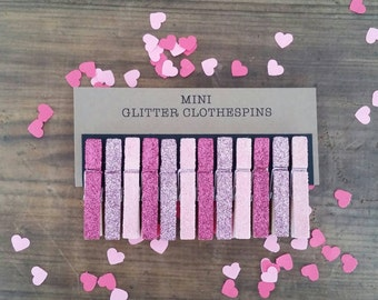 Mini Glitter Clothespins. Fuchsia Glitter. Rose Pink. Carnation Pink. Valentines Day. Party Decor. Wedding Decor. Baby Shower Decor.