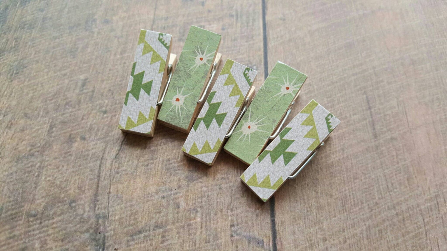 Fridge Magnets Green Aztec Cactus Thorns Clothespin Magnets