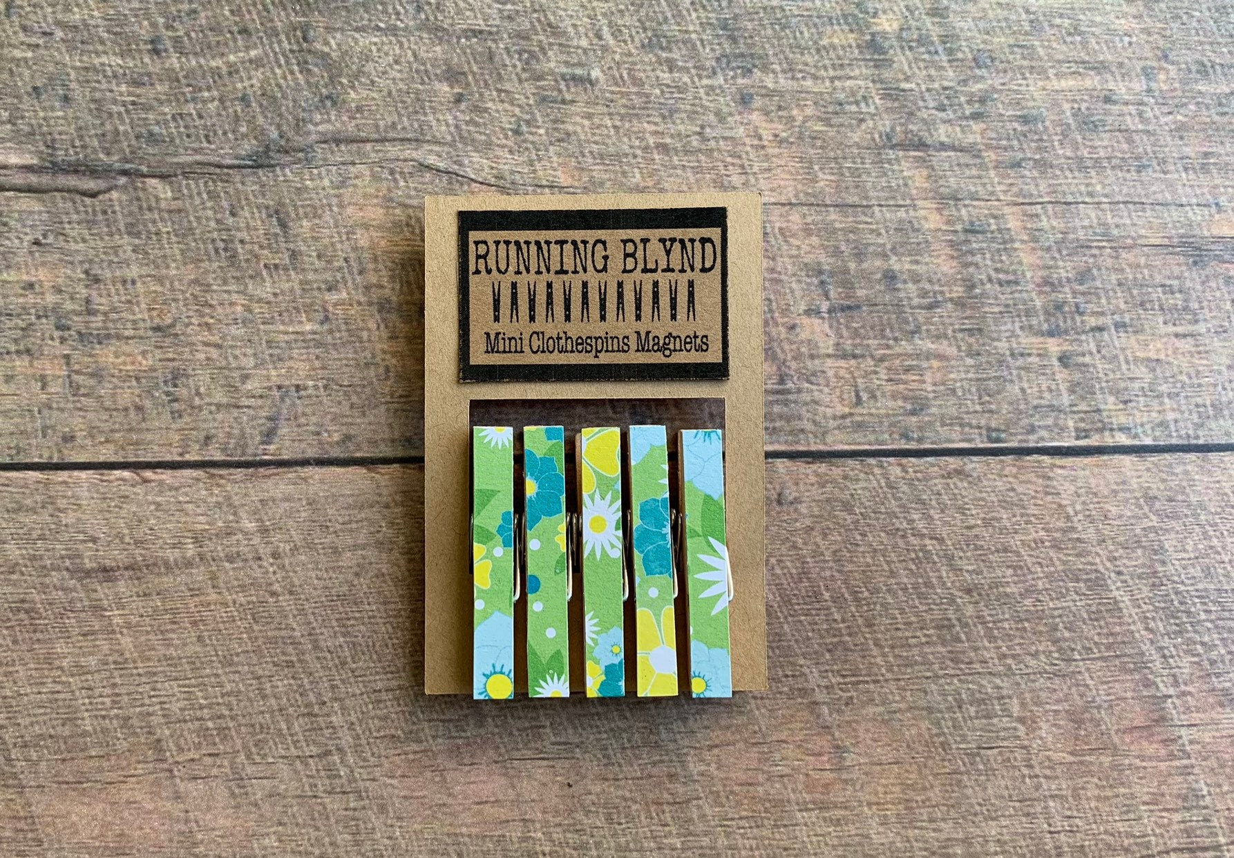 Mini Clothespins Magnets Vintage Vibe Blue Floral Green
