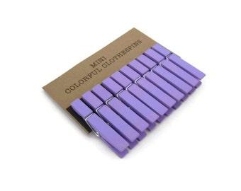 Mini Clothespins Lavender Set of Ten (10). Wedding Decor. Party Decor. Home Decor.