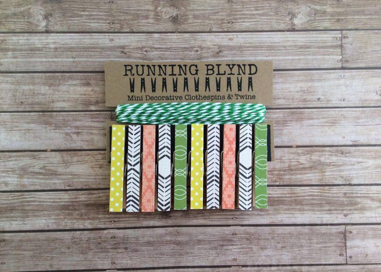 Mini Clothespins With Green Twine Retro Grove Photo Holder Photo