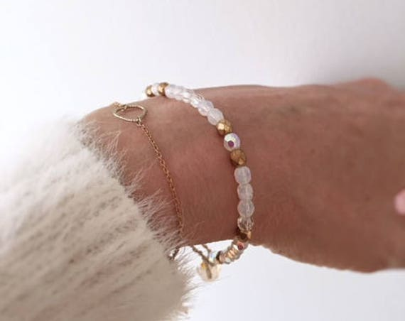 White Iridescent  and Gold Beaded Bracelet, Boho Luxe Bracelet, Christmas Gift for her, Girls Bracelet, Handmade, Timeless