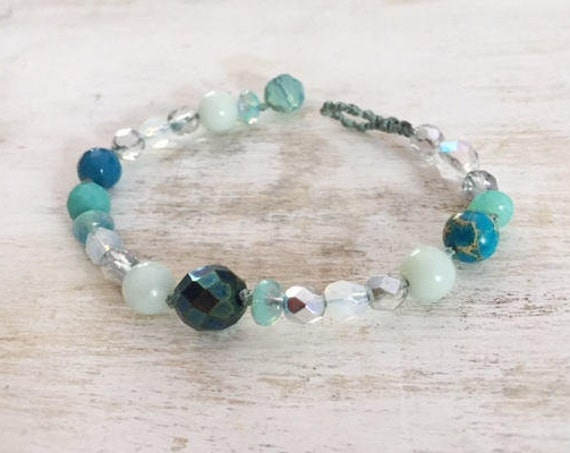 Silver and Shades of Blue beaded Bracelet, Semi-precious and Glass Beads, Boho Jewelry, Beachy, Christmas Gift for her, Handmade in France
