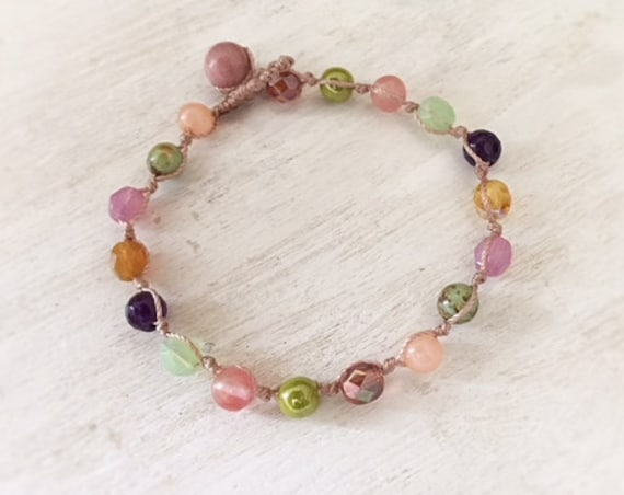 Colorful Beaded Bracelet. Teen Girl Bracelet. Bracelet for women. Handmade Jewelry. Bridesmaid Gift. Boho Jewelry. Glass Beaded Bracelet