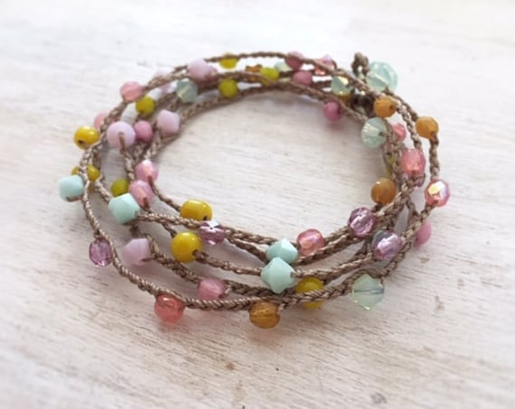 Pastel Boho Wrap Bracelet. Boho Beaded Bracelet. Bracelet For Women. Nature Inspired Bracelet. Girls Bracelet. Handmade Bracelet For Her