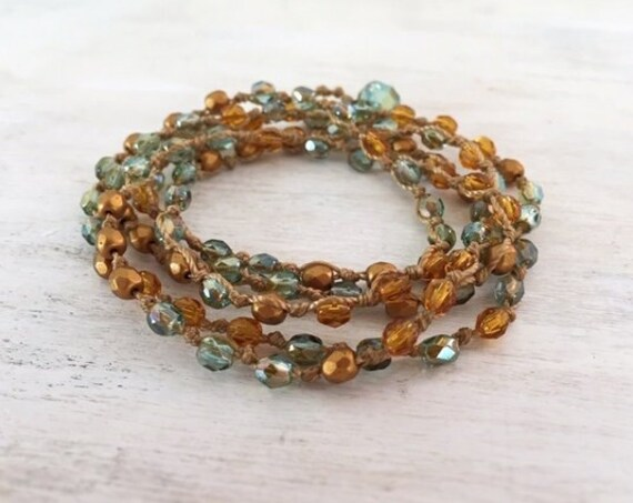 Gold and Green Wrap Beaded Bracelet. Boho Bracelet For Women. Boho Chic Bracelet for Her. Artisan Jewelry. Handmade Bracelet. Gift For Her